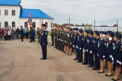 Eden av kadetter av kadettgrupperna i den Kaluga regionen av Ryssland på 10 September 2016 Royaltyfri Bild
