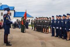 Eden av kadetter av kadettgrupperna i den Kaluga regionen av Ryssland på 10 September 2016 Fotografering för Bildbyråer