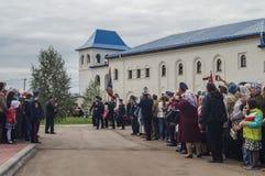Eden av kadetter av kadettgrupperna i den Kaluga regionen av Ryssland på 10 September 2016 Royaltyfria Foton