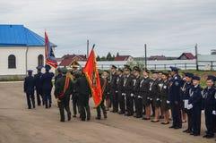 Eden av kadetter av kadettgrupperna i den Kaluga regionen av Ryssland på 10 September 2016 Arkivbilder