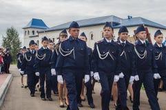 Eden av kadetter av kadettgrupperna i den Kaluga regionen av Ryssland på 10 September 2016 Arkivbild