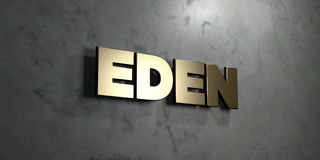 Eden - Gold sign mounted on glossy marble wall  - 3D rendered royalty free stock illustration. This image can be used for an online website banner ad or a Stock Image