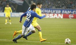 Eden Hazard and Atsuto Uchida FC Schalke v FC Chelsea 8eme Final Champion League Royalty Free Stock Photography