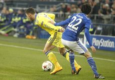 Eden Hazard and Atsuto Uchida FC Schalke v FC Chelsea 8eme Final Champion League Stock Photos