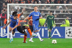 Eden Hazard beats rival. During the match between Shakhtar (Donetsk, Ukraine) vs Chelsea (London, England) October 23, 2012. Donetsk. Donbass Arena. UEFA stock photos