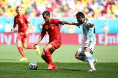 Eden Hazard and Ezequiel Lavezzi Coupe du monde 2014 Royalty Free Stock Image