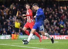 Eden Hazard. Football players pictured during the UEFA Champions League Group C game between Chelsea FC and Atletico Madrid on December 5, 2017 at Stamford stock photo