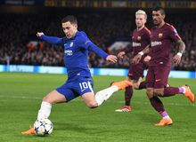 Eden Hazard. Football players pictured during the UEFA Champions League Round of 16 game between Chelsea FC and FC Barcelona held on February 20, 2018 at Stock Photography