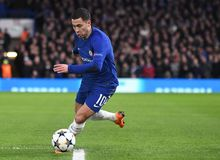Eden Hazard. Football players pictured during the UEFA Champions League Round of 16 game between Chelsea FC and FC Barcelona held on February 20, 2018 at Stock Photo