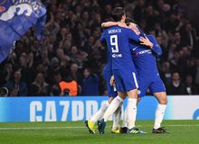 Eden Hazard goal celebration. Football players pictured during the UEFA Champions League Group C game between Chelsea FC and AS Roma on October 18, 2017 at Stock Photos