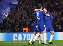 Eden Hazard goal celebration. Football players pictured during the UEFA Champions League Group C game between Chelsea FC and AS Roma on October 18, 2017 at Stock Images