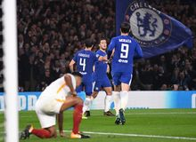 Eden Hazard goal celebration. Football players pictured during the UEFA Champions League Group C game between Chelsea FC and AS Roma on October 18, 2017 at Royalty Free Stock Photos