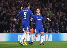 Eden Hazard goal celebration. Football players pictured during the UEFA Champions League Group C game between Chelsea FC and AS Roma on October 18, 2017 at Stock Photo