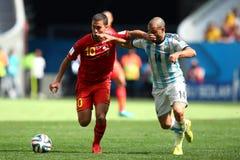 Eden Hazard and Javier Mascherano Coupe du monde 2014 Royalty Free Stock Images