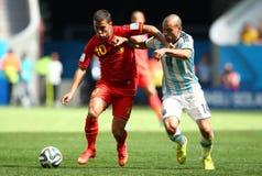Eden Hazard and Javier Mascherano Coupe du monde 2014 Royalty Free Stock Image