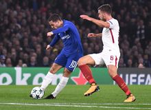 Eden Hazard and Kevin Strootman. Football players pictured during the UEFA Champions League Group C game between Chelsea FC and AS Roma on October 18, 2017 at Royalty Free Stock Photos