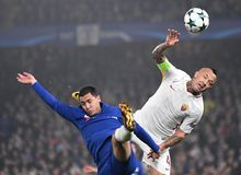 Eden Hazard and Radja Nainggolan. Football players pictured during the UEFA Champions League Group C game between Chelsea FC and AS Roma on October 18, 2017 at Royalty Free Stock Images