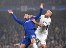 Eden Hazard and Radja Nainggolan. Football players pictured during the UEFA Champions League Group C game between Chelsea FC and AS Roma on October 18, 2017 at Royalty Free Stock Photo