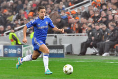 Eden Hazard runs across the field chasing the ball. During the match between Shakhtar (Donetsk, Ukraine) vs Chelsea (London, England) October 23, 2012. Donetsk Stock Photo