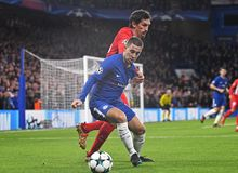 Eden Hazard and Stefan Savic. Football players pictured during the UEFA Champions League Group C game between Chelsea FC and Atletico Madrid on December 5, 2017 royalty free stock photography