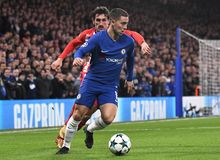 Eden Hazard and Stefan Savic. Football players pictured during the UEFA Champions League Group C game between Chelsea FC and Atletico Madrid on December 5, 2017 stock photos