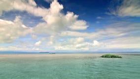 Eden island 1. Deserted island paradise with endless sea around stock footage