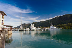 Eden Island, Seychelles. A beautiful view of marina at Eden Island, Seychelles Stock Photography