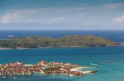 Eden Island, Seychelles. Aerial view on the coastline of the Seychelles Islands and luxury Eden Island from Victoria (Ma Josephine) viewpoint, Mahe Royalty Free Stock Images