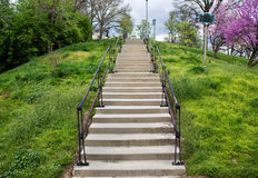 Eden Park Steps. A Concrete Stairway Up A Hill In Eden Park During Springtime, Cincinnati, Ohio, USA stock photo