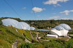 Eden Project. The biodomes and outdoor planting at the Eden Project Cornwall UK stock photography
