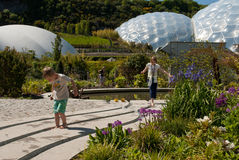 Eden Project Biomes with children Stock Image