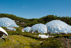 Eden Project Biomes en Landschappen stock foto