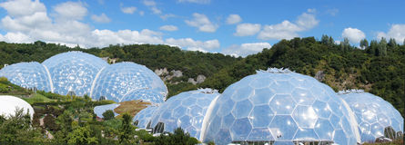 Eden Project biomes panorama in St. Austell Cornwall stock images