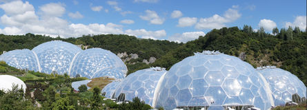 Eden Project biomes in St. Austell Cornwall. The rainforest en warm temperate domes of the Eden Project garden in St. Austell Cornwall royalty free stock photos