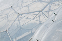 Eden Project - Detail. Detail of hexagonal structure of the biome. Eden Project is situated in Cornwall, England royalty free stock image