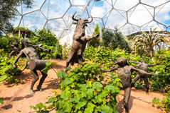 The Eden Project, Mediterranean Biome Sculptures. The Eden Project is a visitor attraction in Cornwall, England Royalty Free Stock Photos