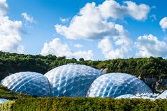 Panoramic view of the geodesic biome domes at the Eden Project. The Eden Project is a visitor attraction in Cornwall, England Royalty Free Stock Photo
