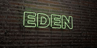 EDEN -Realistic Neon Sign on Brick Wall background - 3D rendered royalty free stock image. Can be used for online banner ads and direct mailers Stock Photos