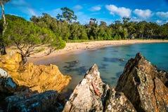 Eden-strand in Victoria, Australië, in de zomer Stock Foto