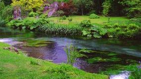 Eden-tuinbeek die op het water van de rivierstroom in de herfst gutst stock videobeelden