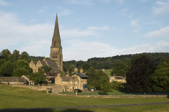 Edensor village and church, Peak District, England. Stock Photography