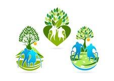 ederly logo, symbole supérieur, icône saine de soin et conception de l'avant-projet de soins illustration libre de droits