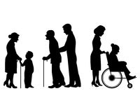Ederly people silhouettes. Vector illustration of a elderly people silhouettes Royalty Free Stock Image