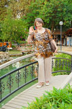 Ederly woman on foot-bridge Royalty Free Stock Image