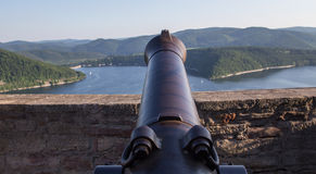 Edersee lake germany with cannon from castle waldeck Royalty Free Stock Photo