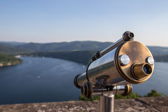 Edersee lake germany with telescope from castle waldeck Royalty Free Stock Photos