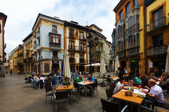 Edestrian  street at historic part of Oviedo Royalty Free Stock Image