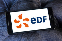 Edf energy company logo. Logo of energy and home services company edf on samsung mobile phone a5 stock image