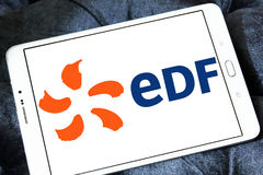 Edf logo. Logo of energy and home services company edf on samsung tablet royalty free stock photos