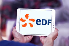 Edf logo. Logo of energy and home services company edf on samsung tablet stock photo
